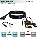 FOINNEX VGA to HDMI Adapter/Converter Cable with Audio,1080P,Convert VGA Source (PC) in HDMI Connector (TV/Monitor), Active Male VGA-HDMI Out Lead Video Adattatore Cord for Computer,Laptop,Projector