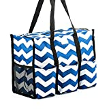Pursetti Teacher Bag with Pockets - Perfect Gift for Teacher's Appreciation and Christmas (Large, Navy Chevron)