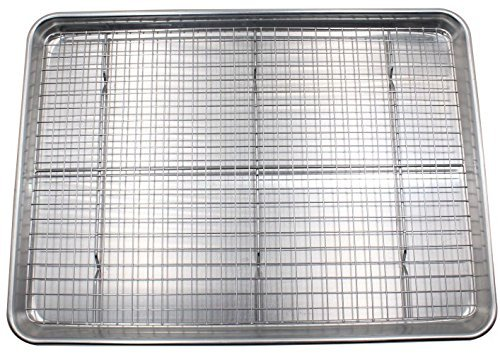 Checkered Chef Baking Sheet and Rack Set - Aluminum Cookie Sheet/Half Sheet Pan for Baking with Stainless Steel Oven Safe Cooling Rack