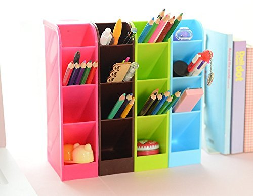 Multifunction Four Grid Candy-colored Desktop Debris Storage Organizer Box for Office,stationery Pen, Socks, Make up Tools(set of 4)