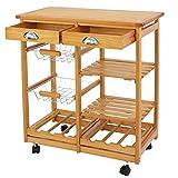 ZENY 4-Shelf Kitchen Storage Island Cart Rack Wood Dining Trolley w/Drawers Basket Stand Home Kitchen Shelves and Organizer w/Wheels
