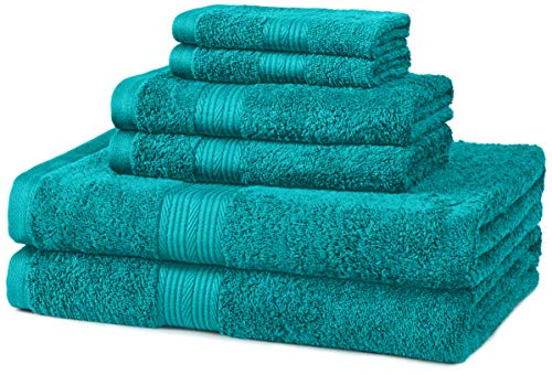 AmazonBasics 6-Piece Fade-Resistant Bath Towel Set - Teal