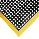 NoTrax Rubber 549 Safety Stance Anti-Fatigue Drainage Mat, for Wet Areas, 38' Width x 40' Length x 7/8' Thickness, Black / Yellow