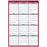 AT-A-GLANCE 2019 Yearly Wall Calendar, 36' x 24', Large, Erasable, Dry Erase, Reversible, Vertical/Horizontal, Blue/Red (PM2628)