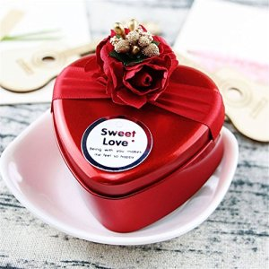 10pcs Wedding Bridal Favor Tinplate Iron Gift Candy Boxes Case Containers with Lid, Heart Round Square Shape Wrap Boxs Party Table Decor Kit Treat Box Chocolate Candy Wrappers,red 51RzKIQrA0L