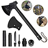 "LIANTRAL Outdoors Camping Axe, Multi-Tool Detachable Hatchets Camping Axe with Sheath Set for Camping Hiking Hunting Fishing Survival Backpacking, Black 18"" L x 5.8"" W x 0.11"" H"
