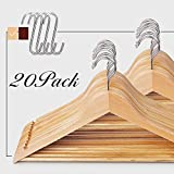 20-Pack Multifunctional High Grade Solid Wooden Suit Hangers, Coat Hangers, Natural Finish, 4 Free S Hooks