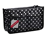 Vercord Updated Purse Handbag Organizer Insert Liner Bag in Bag 13 Pockets Black Dot Small