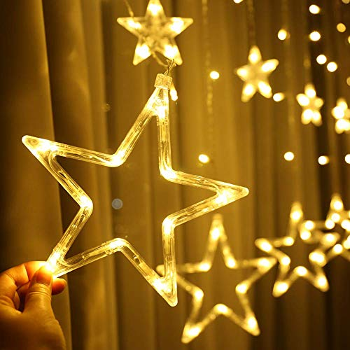 51S+i6dLuRL - Home Solution's -Star Light Curtain Decorations (12 Star,138 LED,8 Flashing Modes in Warm White Color)