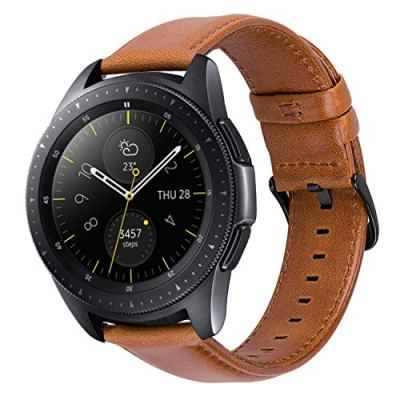 MroTech Cinturino 20 mm Pelle Compatibile per Samsung Galaxy Watch 42mm/ Galaxy Active/Gear S2 Classic, Amazfit bip, Garmin Vivoactive 3 / Vívomove HR, TicWatch E, Huawei 2 20 mm Band Marrone