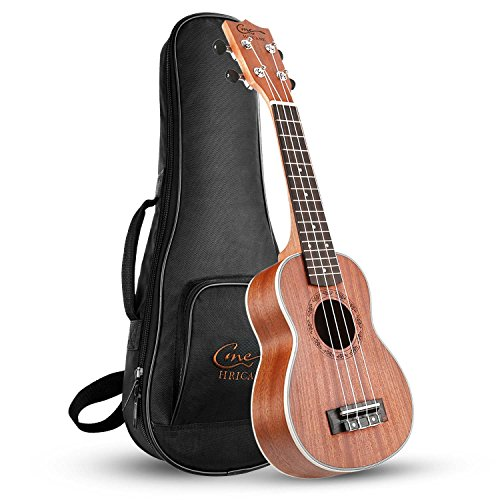Hricane Ukulele Soprano 21inch Professional Ukeleles For Beginners Sapele Hawaiian Ukele UKS-1 Bundle with Gig Bag