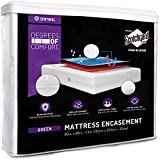 Degrees of Comfort Waterproof Zippered Mattress Encasement - Breathable Bed Bug Mattress Cover with Advance Patented Zipper Flap Design - 3M Scotchgard Stain Release Technology Fits 9-12' Queen