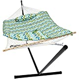 Sunnydaze Cotton Rope Hammock with 12 Foot Portable Steel Stand and Spreader Bar, Indoor or Outdoor Use, Pad and Pillow Included, Blue & Green Chevron