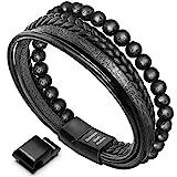 murtoo Mens Bead Leather Bracelet, Blue and Brown Bead and Leather Bracelet for Men (Black Bead)