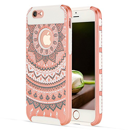 Rose Gold iPhone 6S Case Shockproof Hybrid iPhone 6 Case Flowers for Girls, Defender Heavy Duty Case iPhone 6S Phone Cases iPhone 6 Silicone Case Plastic Dual Layer iPhone 6Case for iPhone 6S/iPhone 6