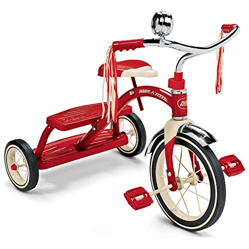 Radio Flyer Classic Red Dual Deck Tricycle- children's Tricycle- Adjustable Seat- Retro Design- Rubber-wheeled Tricycle- Chrome Front Fender- Double-deck- Step-in Back