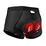 X-TIGER Men's Cycling Underwear Shorts 5D Padded Gel,MTB Biking Shorts Pants with Breathable,Adsorbent Design,Black Red XL