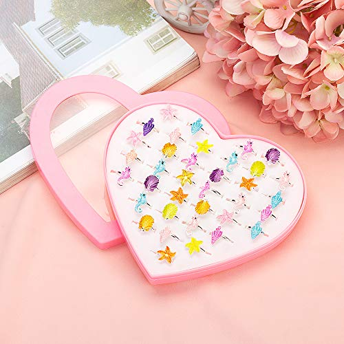 JUNWEISPIN 36 PCS Kids Little Girl Jewelry Jewelry Adjustable Rings Peach Heart Shaped Box Girl Play House Toys and Dress Up Rings Random Shapes and Colors Little Girl Gifts(A44)