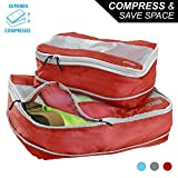 Lewis N Clark Electrolight Expandable Compression Packing Cube + Travel Organizer for Luggage, Suitcase or Carry On with Smart Design Grab Handle & Breathable Mesh, 2 Pack (1 Med, 1 Large), Red