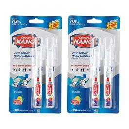 Luxor Nano Pen Hand Sanitizer Spray Twin Pack (Alchohol Based) – Lemon Zest – 10 ml X 2 (20 ml) – Pack of 2