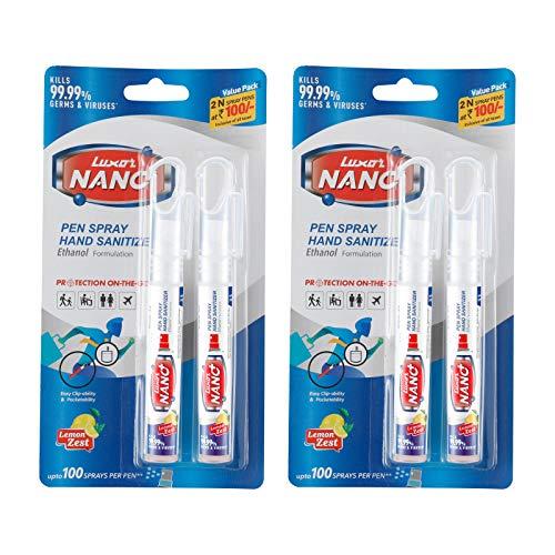 Luxor-Nano-Pen-Hand-Sanitizer-Spray-Twin-Pack-Alchohol-Based-Lemon-Zest-10-ml-X-2-20-ml-Pack-of-2