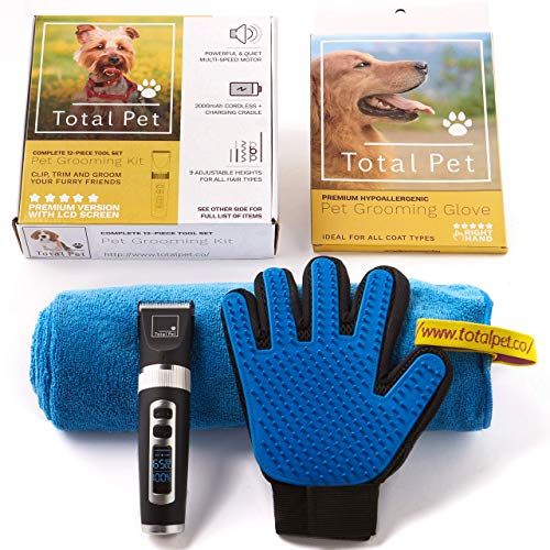 Dog Clippers - 12-Piece Pet Grooming Kit: Perfect for Dog Grooming and Cat...