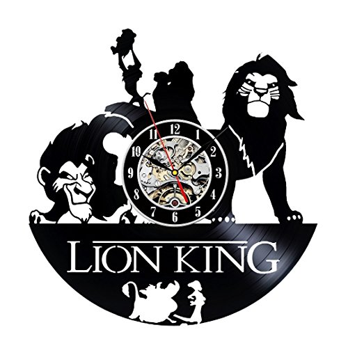 The Lion King Vinyl Record Wall Clock - Decorate your home with Modern Large Disney Art - Gift for kids, girls and boys - Win a prize for a feedback