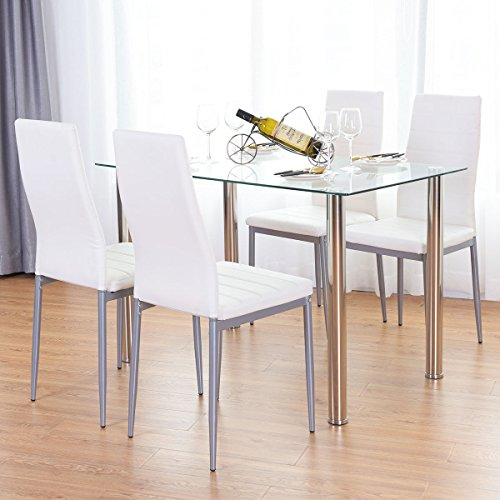 Prime Tangkula 5 Pcs Dining Table Set Modern Tempered Glass Top And Pvc Leather Chair W 4 Chairs Dining Room Kitchen Furniture White And Silver Dustin Ibusinesslaw Wood Chair Design Ideas Ibusinesslaworg