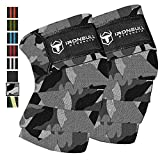 Iron Bull Strength Knee Wraps (1 Pair) - 80' Elastic Knee and Elbow Support & Compression - for Weightlifting, Powerlifting, Fitness, WODs & Gym Workout - Knee Straps for Squats (Camo/White)
