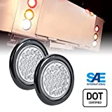 2pc 4' Round White 24 LED Trailer Tail Lights [DOT Certified] [Grommet & Plug Included] [IP67 Waterproof] Reverse Back Up Trailer Lights for RV Trucks Jeep