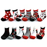 Disney Baby Girls Assorted Minnie Mouse Designs 12 Pair Socks Variety Set, Age 0-24 Months (6-12 Months, Black-Red-White Collection)