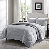 Comfort Spaces Kienna 2 Piece Quilt Coverlet Bedspread Ultra Soft Hypoallergenic Microfiber Stitched Bedding Set, Twin/Twin XL, Gray