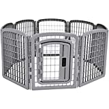 AmazonBasics 8-Panel Plastic Pet Pen Fence Enclosure With Gate - 59 x 58 x 28 Inches, Grey