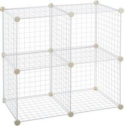 Amazon Basics 4 Cube Grid Wire Storage Shelves, White
