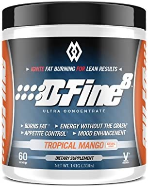 Musclewerks D-Fine8 - Fat Burner Thermogenic, Pre Workout Powder, Appetite Suppressant, Energy & Weight Loss Supplement for Men & Women - 60 Servings Vegan Friendly (Tropical Mango) 1