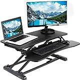 VIVO Height Adjustable Standing Desk Sit to Stand Gas Spring Riser Converter | 32' Wide Tabletop Workstation fits Dual Monitor (DESK-V000K)