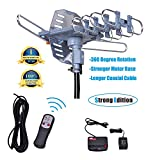 Will Brands 150+Miles Range Outdoor Amplified Digital TV Antenna-4K/1080p High Reception 40FT Coaxial Cable-Motorized 360Degree Rotation Wireless Remote Control With Snap On Installation-2TVs function