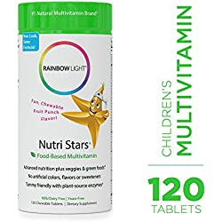 Rainbow Light - Nutristars Chewable Multivitamin - Kid's Food-based Vitamins, Minerals, Nutrients, and Superfood; Supports Nutrition, Digestion, Skin, Eye, and Immune Health in Children - 120 Tablets