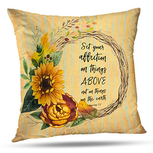 KJONG Rustic Sunflower With Bible Verse Zippered Pillow Cover,18X18 inch Square Decorative Throw Pillow Case Fashion Style Cushion Covers(Two Sides Print)