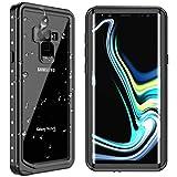 Samsung Galaxy Note 9 Waterproof Case, SPIDERCASE Shockproof Snowproof Dirtproof IP68 Certified Waterproof Case for Samsung Galaxy Note 9 (Black/Transparent)