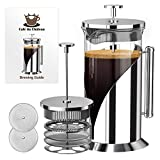 Elegant French Press Coffee Maker - 4 Level Filtration System - 304 Grade Stainless Steel - Heat Resistant Borosilicate Glass by Cafe du Chateau (34 Ounce)