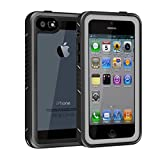 YMCCOOL for iPhone 5/5S/SE Waterproof Case Full Body Protective Rugged Clear Phone Case Cover with Built-in Screen Protector Underwater Dirtproof/Snowproof/Shockproof/Waterproof iPhone 5/5S/SE Case
