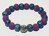 Essential Oil Bracelet, Purple Lava Bracelet, Blue Ceramic, Stretch Bracelet