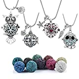 4 PCS Antique Silver Aromatherapy Essential Oil Diffuser Locket Necklace Pendant, Round/Heart Cage Locket Bulk with 10 Lava Stone Rock Beads Balls Set for Necklace Jewelry