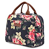 LOKASS Lunch Bag Cooler Bag Women Tote Bag Insulated Lunch Box Water-resistant Thermal Lunch Bag Soft Liner Lunch Bags for women/Picnic/Boating/Beach/Fishing/Work (Peony)