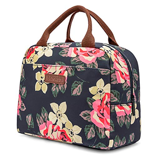 LOKASS Lunch Bag Cooler Bag Women Tote Bag Insulated Lunch Box Water-resistant Thermal Lunch Bag Soft Leak Proof Liner Lunch Bags for women/Picnic/Boating/Beach/Fishing/Work (Peony)
