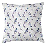 Kaputar Garden Decor Throw Pillow Cushion Cover, Bridal Flowers Gentle Buds Bouquet Corsage Celebration, 18 X 18 Inches, Purple Blue Pink | Model WDDNG -1197 | 18' W by 18' L