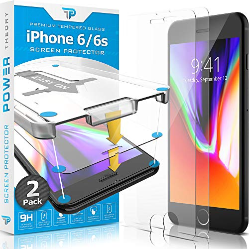 Power Theory iPhone 6s / iPhone 6 Glass Screen Protector [2-Pack] with Easy Install Kit [Premium Tempered Glass]