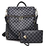 Backpack for women Fashion Leather Ladies Rucksack Crossbody Shoulder Bag 2pcs Purses Backpack Set (Black-02)