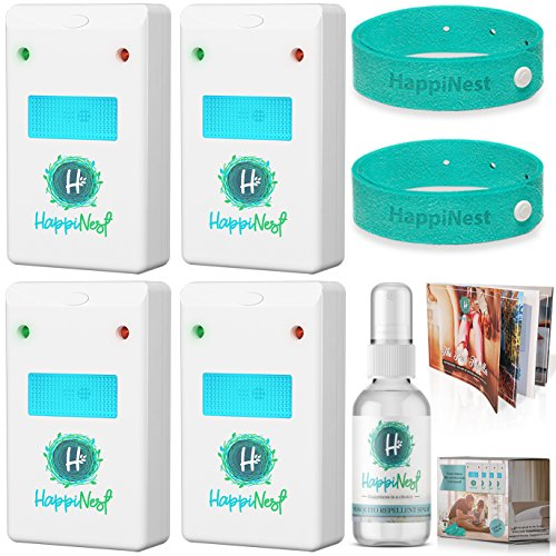 Ultrasonic Pest Repeller Control Kit【UPGRADED 2018】Expert Home Mouse & Insect Reject | 4 Top Plug in Electronic Repellers with Night Light, 2 Mosquito Bracelets, Repellent Spray & Booklet